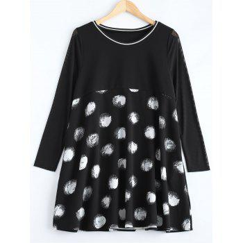 Plus Size Polka Dot Graffiti Long Sleeve Dress