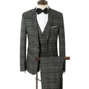 Lapel Checked Single Breasted Three-Piece Suit
