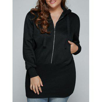 Plus Size Zip Up Hooded Dress