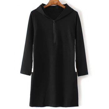 Plus Size Zippered Contrast Side Slit Hoodie