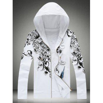 Bird and Floral Print Plus Size Hooded Zip-Up Hoodie