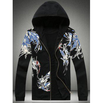 Bird and Florals Print Plus Size Hooded Zip-Up Hoodie