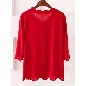 Plus Size 3/4 Sleeves Wave Cut Knitwear - 4XL 4XL