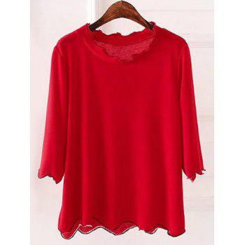 Plus Size 3/4 Sleeves Wave Cut Knitwear - RED 4XL