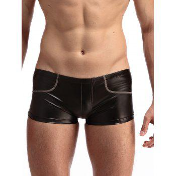 Suture Design PU-Leather Boxer Brief