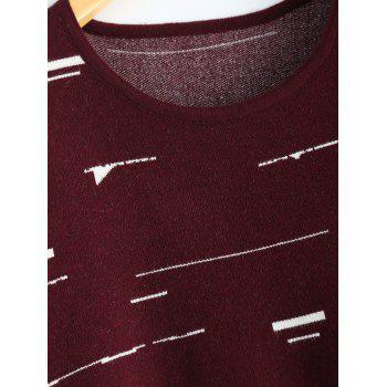 Small Flag Pattern Knit High Low Dress - CLARET ONE SIZE