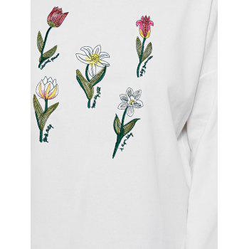 Round Neck Floral Embroidered Side Slit Sweatshirt - WHITE ONE SIZE
