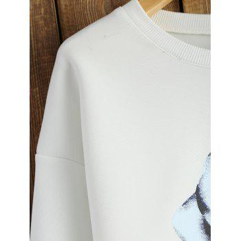 Crew Neck Sweatshirt With Chinese Painting - WHITE WHITE