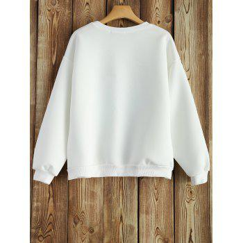 Crew Neck Sweatshirt With Chinese Painting - WHITE S
