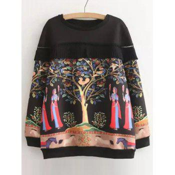 Plus Size Pleated Openwork Printed Sweatshirt
