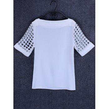 Openwork Candy Color T Shirt - WHITE 5XL