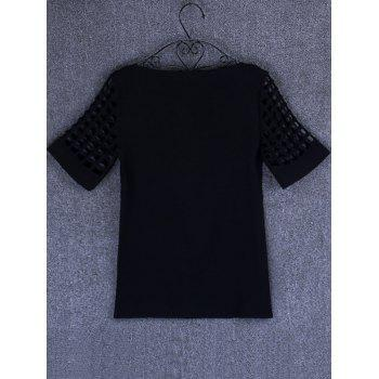 Openwork Candy Color T Shirt - BLACK XL