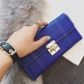 Stitching Textured Leather Metal Wallet - BLUE BLUE
