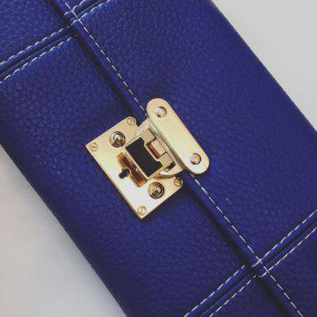 Stitching Textured Leather Metal Wallet -  BLUE