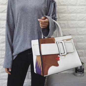 Stitching PU Leather Color Spliced Tote Bag