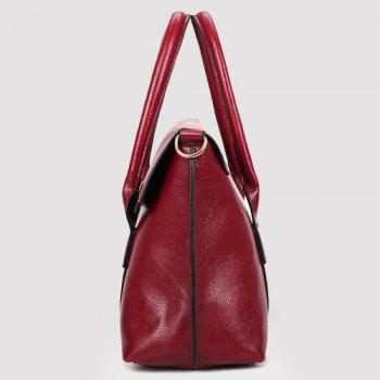 Stitched Flap Handbag - WINE RED