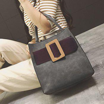 Buckle Colour Spliced PU Leather Tote Bag