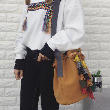 Dark Colour Tassels Drawstring Crossbody Bag