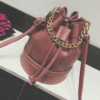 Chain Zipper Drawstring Crossbody Bag