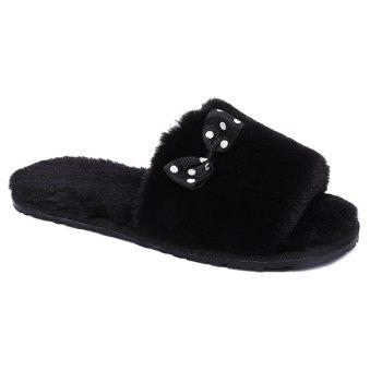 Bowknot Open Toe Furry Plush Fleece Slippers
