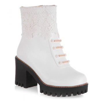 Chunky Heel Beading Lace Splicing Ankle Boots