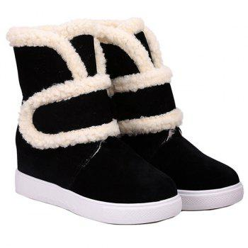 Hook and Loop Increased Internal Fleece Plush Ankle Boots
