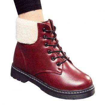 Winter Warm PU Leather Flat Lace Up Ankle Boots