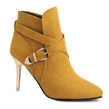 Point Toe Stiletto Heel Cross Strap Buckle Suede Ankle Boots