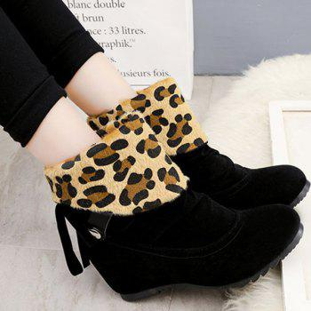 Increased Internal Tassels Fold Over Leopard Suede Ankle Boots
