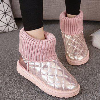 Argyle Pattern Splicing Knitting Snow Boots