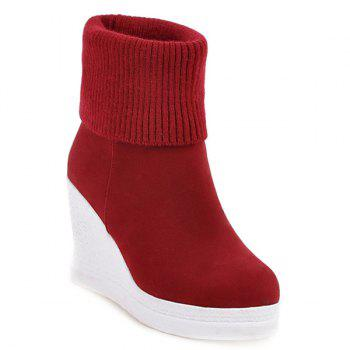 Wedge Fold Over Knit Sweater Ankle Boots