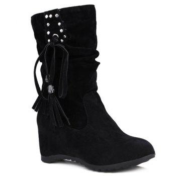Metallic Embellished Slip On Increased Internal Tassels Suede Mid Calf Boots