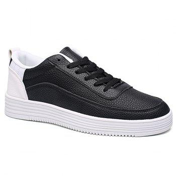 Buy Lace PU Leather Breathable Casual Shoes WHITE/BLACK