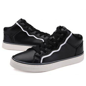 Tie Up Faux Leather Casual Shoes - BLACK 44