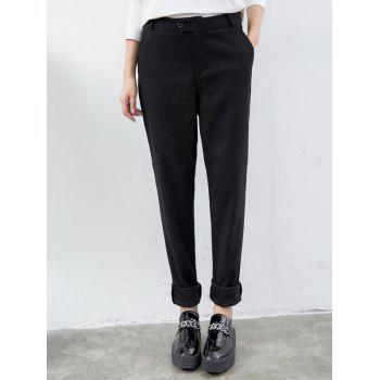 Woolen Faux Pocket Design Harem Pants