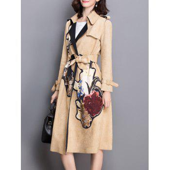 Floral Applique Suede Trench Coat