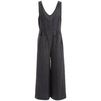 Striped Pockets Suspenders Jumpsuit