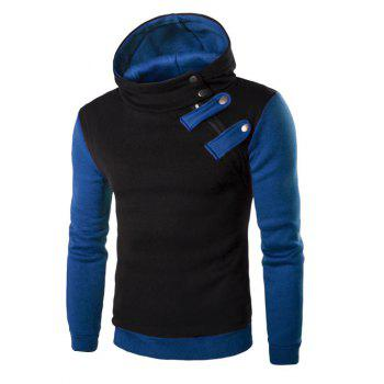 Inclined Zipper Color Block Hooded Long Sleeves Men's Hoodie