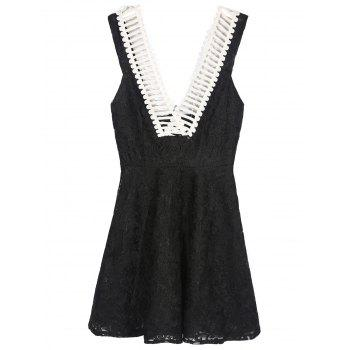 Mini Sleeveless Lace Summer Skater Dress - BLACK M