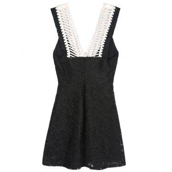 Mini Sleeveless Lace Summer Skater Dress - M M