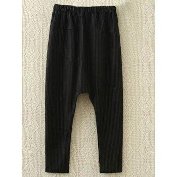Plus Size Sweatshirt and Harem Pants - BLACK BLACK