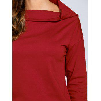Skew Neck Tunic T-Shirt - RED XL
