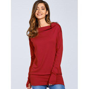 Skew Neck Tunic T-Shirt - RED RED