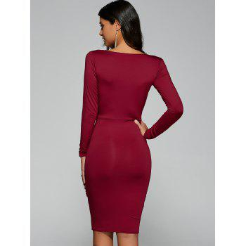 Twist Front Long Sleeve Bodycon Formal Dress - RED S