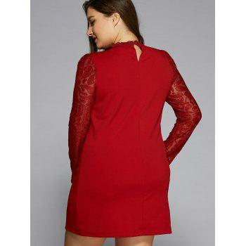Long Sleeve Lace Splicing Dress - RED 5XL