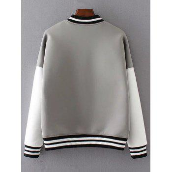 Buttoned Loose Baseball Jacket - S S