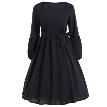Ruffled Puff Sleeve Flare Dress - BLACK L