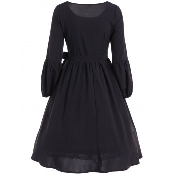 Ruffled Puff Sleeve Flare Dress - S S
