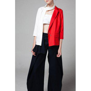 Asymmetric Color Block Blazer - RED M