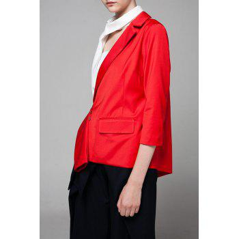 Asymétrique Color Block Blazer - Rouge M